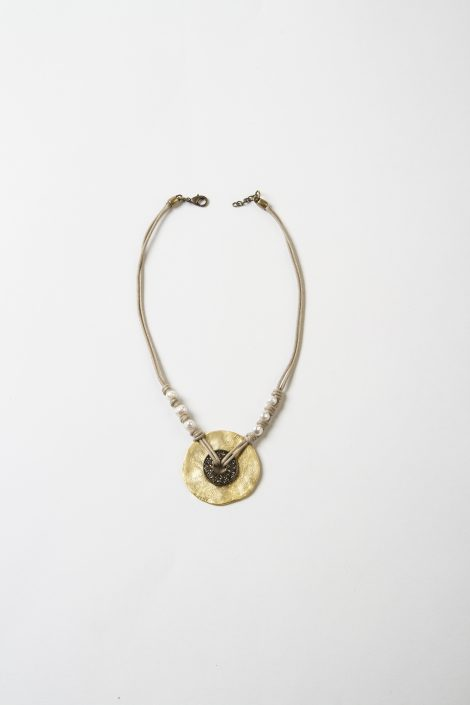 Collaret Sol daurat cristall tallat perles riu cotó zamak fet a mà Egass Barcelona