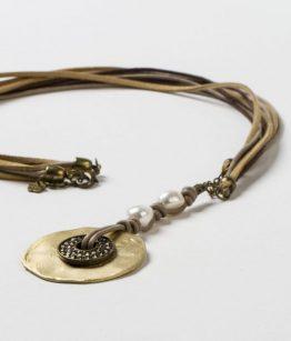 collar largo dorado aro cristal tallado