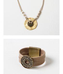 Conjunto Sol / Elsa /piel cristal tallado perlas de río algodón zamak dorado.
