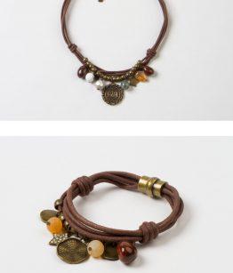 Conjunto Judith algodón grueso minerales, resinas cristal tallado zamak dorado hecho a mano EgassBarcelona