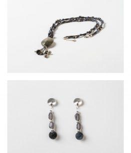 Conjunto collar y pendientes resinas, zamak con baño de plata minerales algodón hecho a mano Egass Barcelona