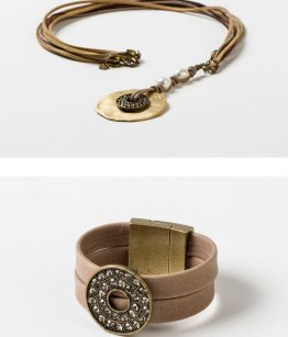 Conjunto Sara Eva cristal tallado,perlas de río algodón zamak dorado cierre de imán piel hecho a mano Egass Barcelona